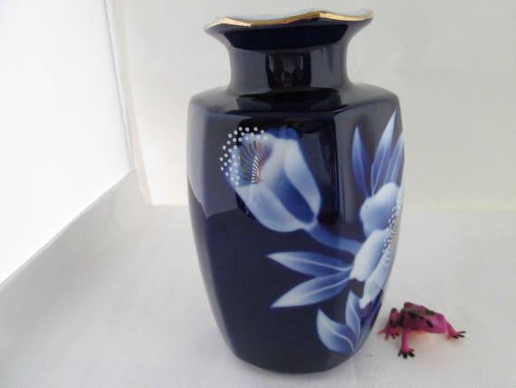Vintage Fukagawa Cobalt Blue Hexagonal Vase W Floral Motif Etsy
