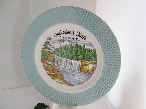 Vintage Cumberland Falls State Park KY Souvenir Plate Kentucky Souvenir Attraction plate souvenir plate of KY state park plate falls plate