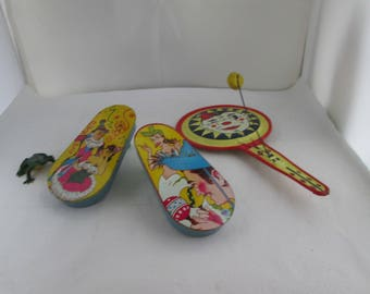 Vintage 3 US Made Metal Noisemakers Party Noise Makers US Metal Toy Lot of Noisemakers Holiday Noisemaker New Years Eve prop Mardi Gras
