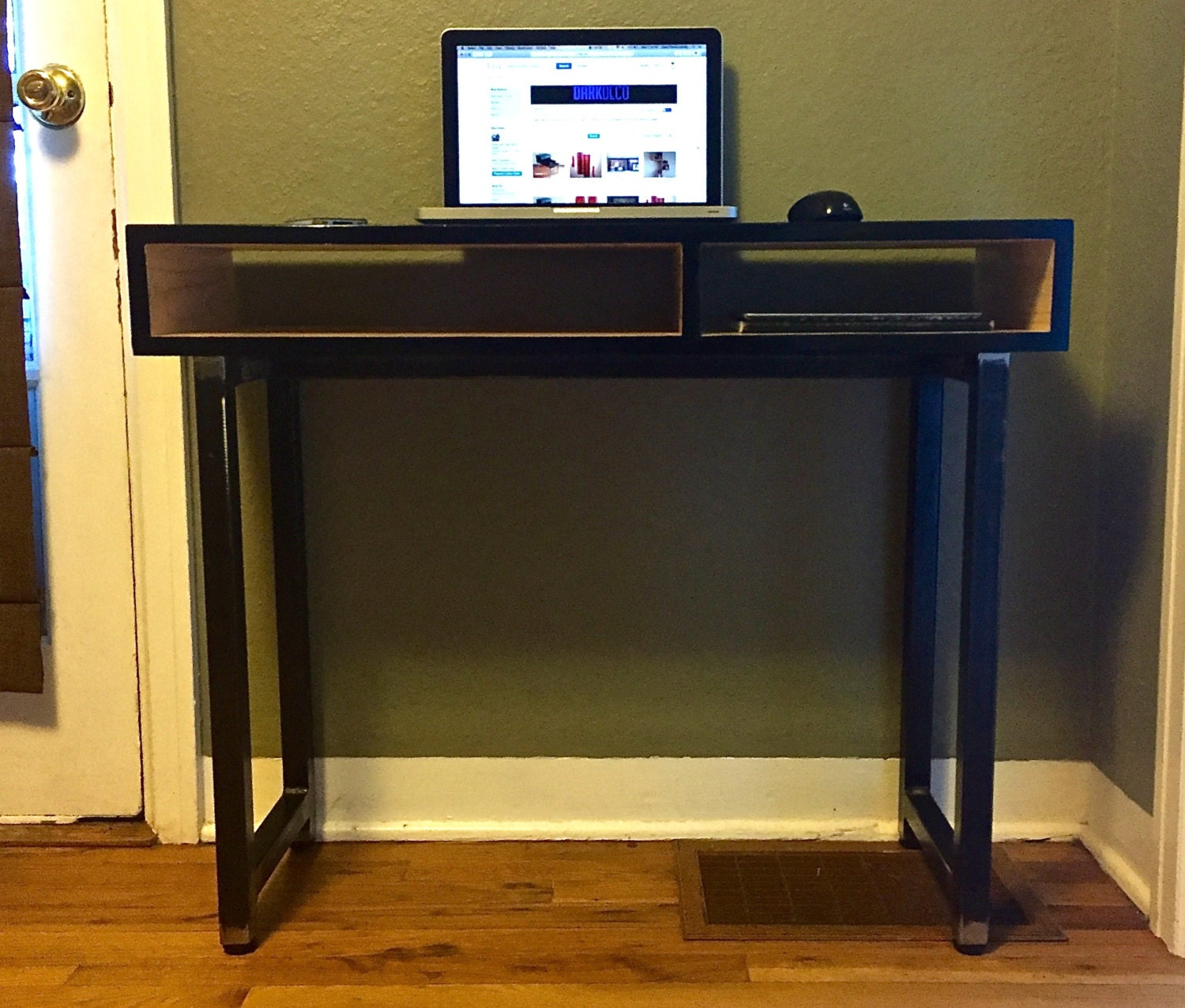 Image of: Retro Modern Industrial Laptop Desk Dorm Small Office Table Etsy