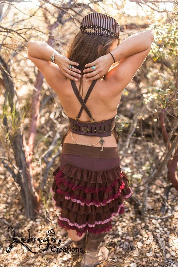 Burlesque Teal  Steampunk Boho Festival Clothing Burning Man Ruffle Skirt Hippy Bustle Bum Skirt Fancy Frills