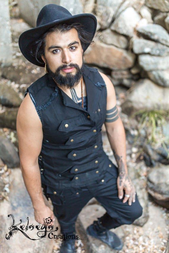 Mens Pirate Suit Black Steampunk Festival Wear Burning Etsy