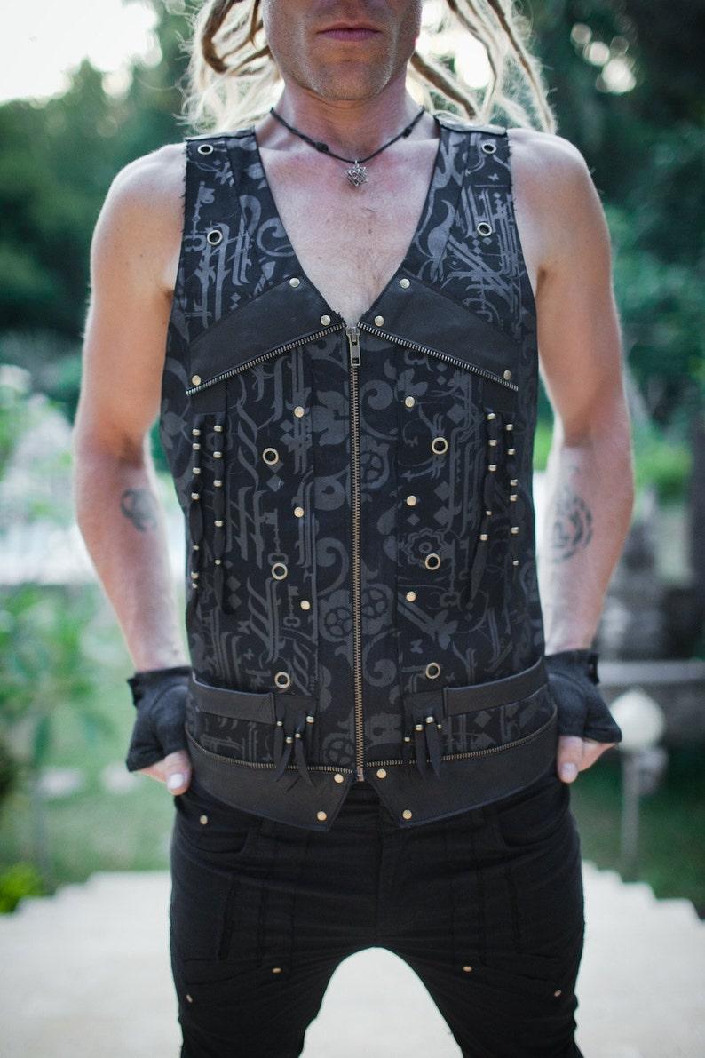 15d2de2bd36906 MEN'S VEST Black Vest Hipster Steampunk Gothic | Etsy