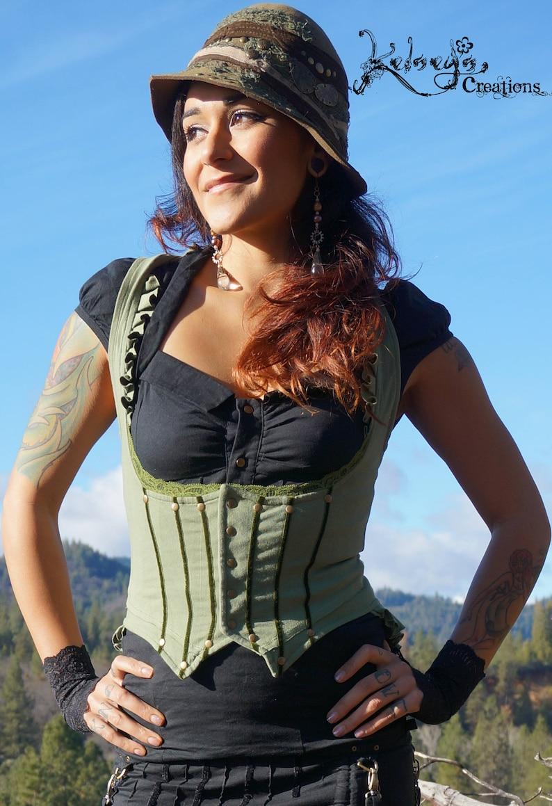 39ec17f82b Women's Pirate Vest Steampunk Underbust Corset back | Etsy