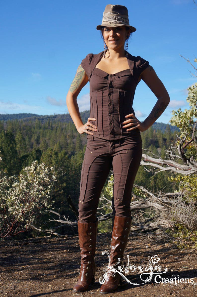 Steampunk Women's Pants, Leggings & Bloomers Ladies Fitted Pants - Black Leggings Light Weight Pants Steampunk Festival Clothing Burning Man Summer pants Hipster Wanderlusts Pants $98.00 AT vintagedancer.com