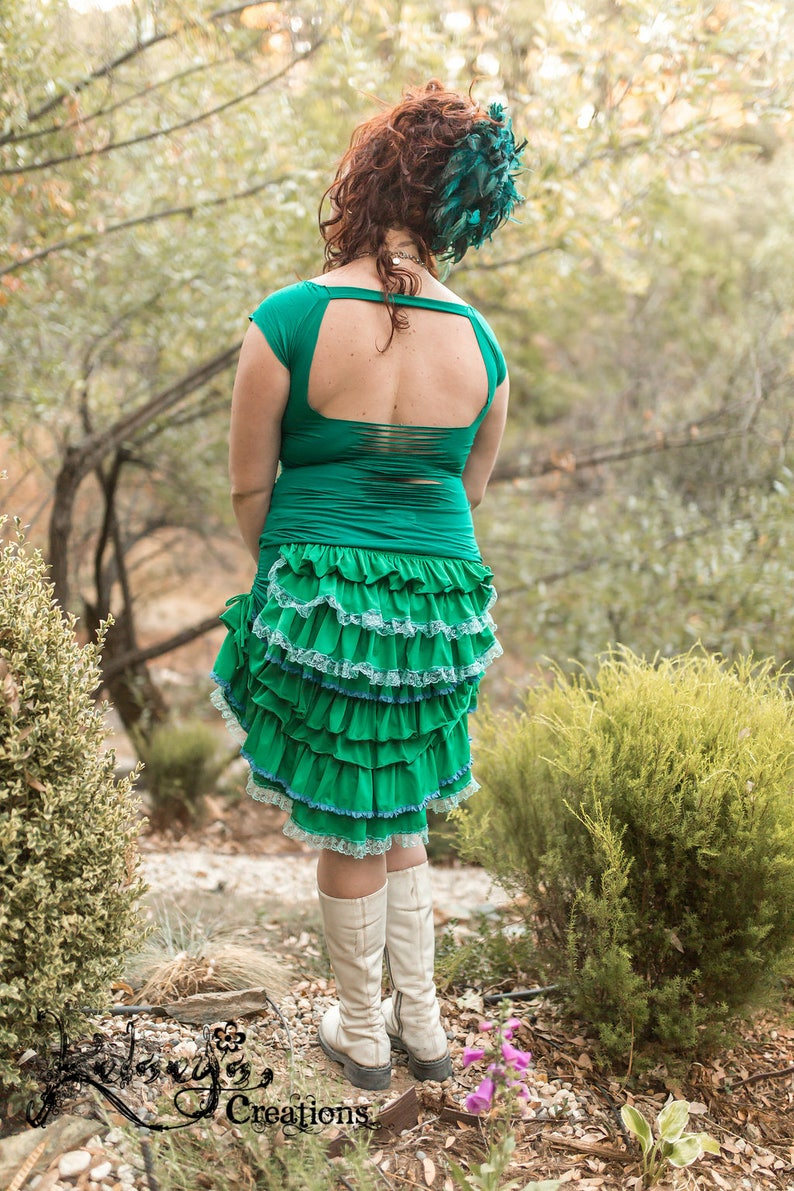 9699f8587e8 Ruffle Skirt Teal Steampunk Festival Clothing Burning Man