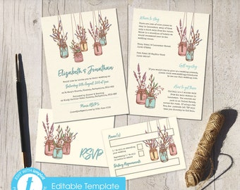 Printable Digital File | Templett Design | Wedding Invitation Set with RSVP card & Information card | Mason Jars | Jam Jars | Rustic Floral