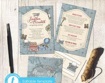 Printable Digital File | Templett Design | Wedding Invitation Set with RSVP card & Information card | Vintage Travel | Destination | Flat