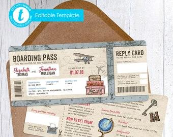 Printable Digital File | Templett Design | Wedding Invitation Set with RSVP card & Information card | Vintage Travel | Boarding Pass