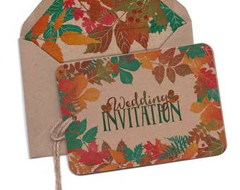 Autumn, Fall, painted, leaves, winter, red, wedding invitation, vintage, Map, Country wedding, Rustic Wedding, Personal, kraft, HAND-TIED