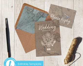 Passport wedding invitations etsy printable template invite print yourself diy wedding passport destination wedding travel invitation travel theme vintage map invite solutioingenieria Image collections