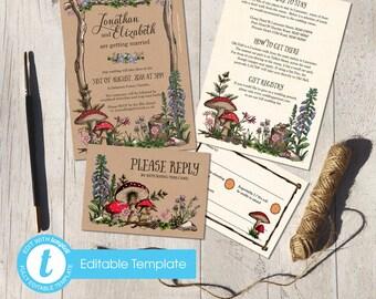 Printable Digital File | Templett Design | Wedding Invitation Set with RSVP card & Information card | Woodland Forest Garden | Hand Painted