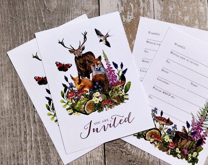 Blank Invitations | Woodland Animals | Cards and Envelopes with spaces for you to complete | Rustic Design