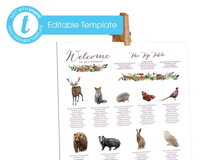 Printable Digital File | Templett Design | Table Plan | Woodland Forest Animals