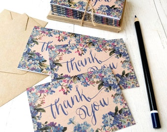 Mini Thank You Cards | Handmade Blank Cards & Envelopes | Blue Floral Botanical Vintage