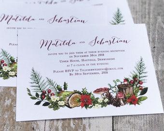 Flat Wedding Evening Invitation | Woodland Flowers | Fully Personalised