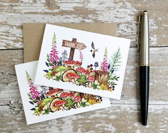 Mini Thank You Cards | Handmade Blank Cards & Envelopes | Watercolour Forest | Personalisation Available