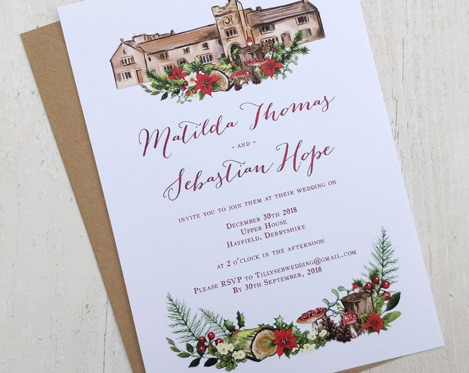 Wedding Venue Invitation | Winter Christmas Woodland | Double Sided Cards & Envelopes | Fully Personalised
