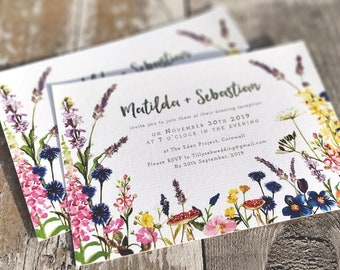Flat Evening Invitation | Wild Flower Garden | Double Sided Cards & Envelopes | Fully Personalised