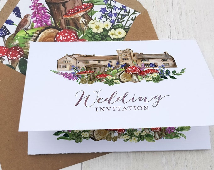 Wedding Venue Invitation | Woodland Forest with customised wedding map and envelopes.