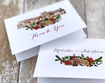 Thank You Cards | Handmade Blank Cards & Envelopes | Woodland Christmas Winter Forest Wedding | Personalised Venue Painting