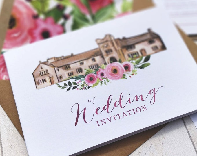 Wedding Venue Invitation | Pink Flowers | Double Sided Cards & Envelopes | Fully Personalised | SAMPLE CARD