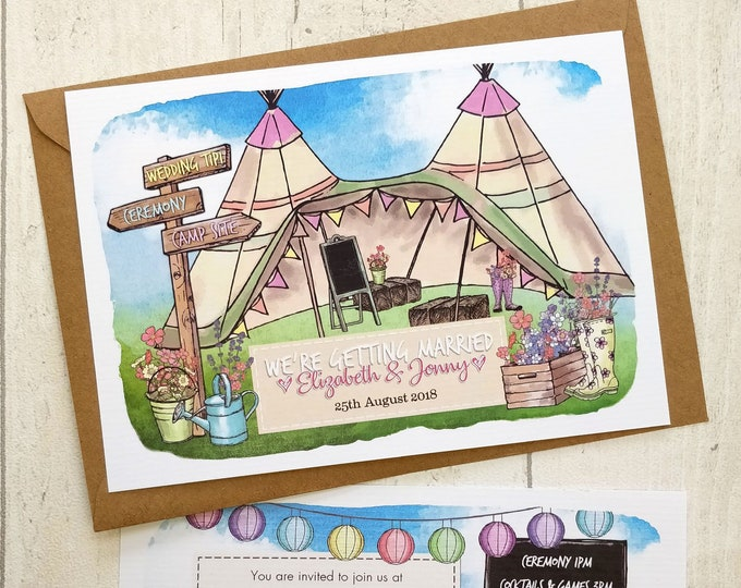 Wedding Invitation   Summer Festival   Woodland Style   Tipis and wellies   Cards and Envelopes