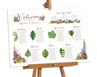 Table Plan, Wedding Tables, Watercolour leaves, Woodland wedding, Woodland trees, Woodland Watercolour, Forest Table Plan Board Poster