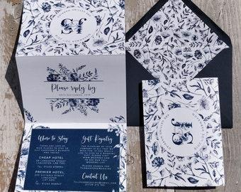 Folded Floral Wedding Invitation, Navy Botanical Concertina with customised wedding map and envelopes.