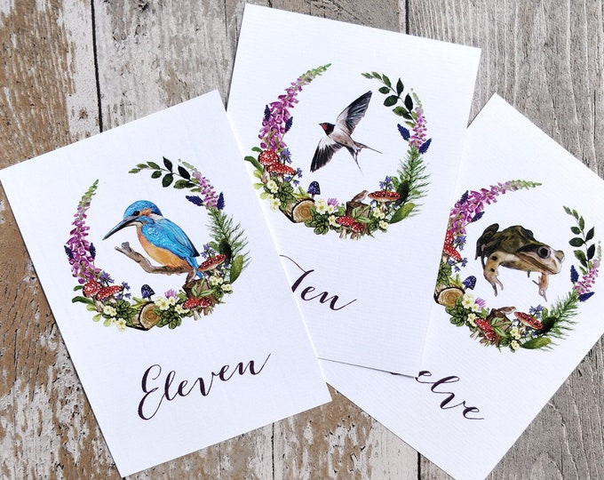Table Numbers, Wedding Table names, Watercolour animals, Woodland wedding, Woodland Animals, Woodland Watercolour, Forest Table number names