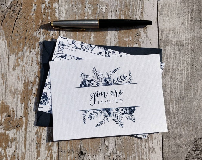 Blank Invitations | Navy Floral | Cards and Envelopes with spaces for you to complete | Botanical Sketch