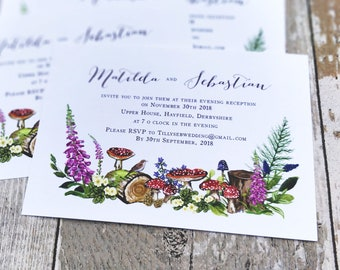 Flat Wedding Invitation | Woodland Flowers | Double Sided Cards & Envelopes | Fully Personalised