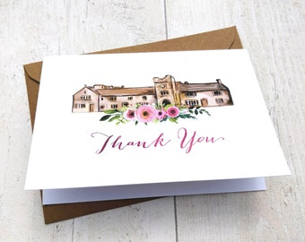 Thank You Cards | Handmade Blank Cards & Envelopes | Pink Floral Wedding | Personalised Venue Painting