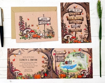 Wedding Venue Invitation | Woodland Autumn Fall | Fully Personalised