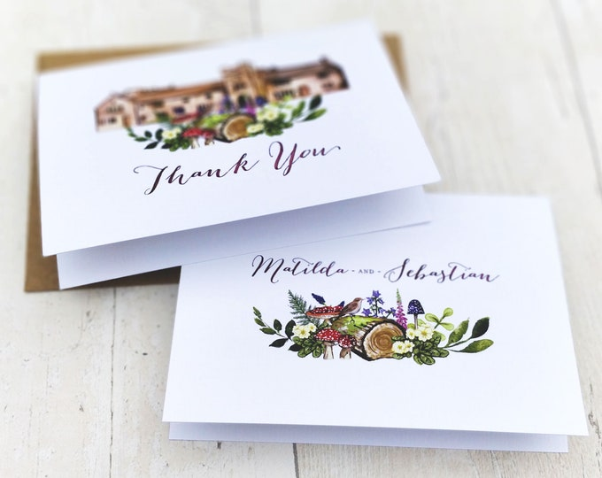 Thank You Cards | Handmade Blank Cards & Envelopes | Woodland Forest Wedding | Personalised Venue Painting