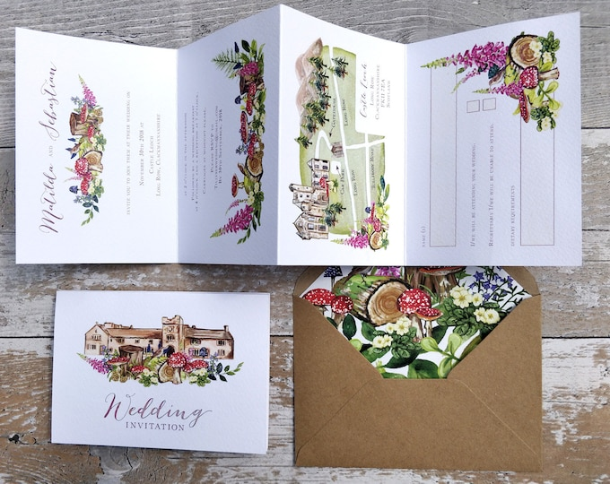 Wedding Venue Invitation | Woodland Forest with wedding map, cut-off RSVP cards and envelopes