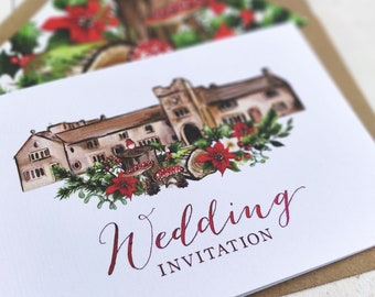 Wedding Venue Invitation | Winter Christmas Woodland | Fully Personalised