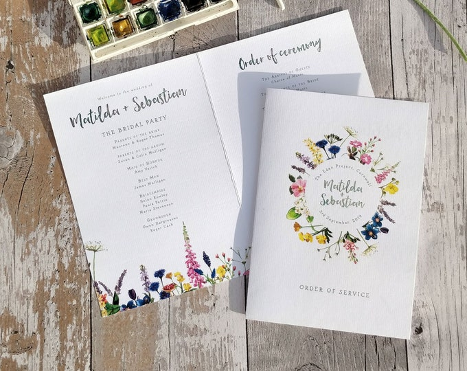 Order of service card | Wild Flowers | Folded Card | Fully Personalised