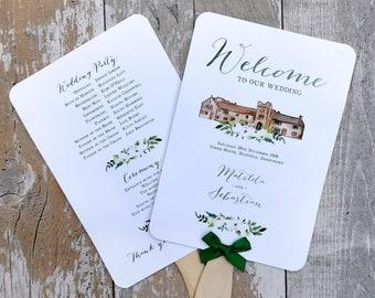 Wedding Program, Wedding fan, Watercolour, Rustic wedding fan, Wedding order of service, Watercolour buildings, Order of the day, program