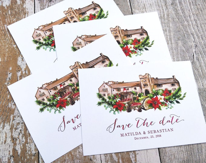 Save the Date cards & envelopes | Winter Christmas Woodland Venue