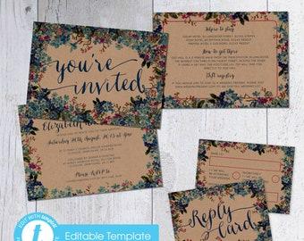 Printable Digital File | Templett Design | Wedding Invitation Set with RSVP card & Information card |