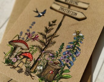 Folded Wedding Invitation | Woodland Flowers | Hand painted map | Fully Personalised