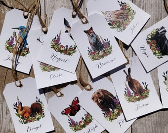 Place Card Luggage Tags | Printed Guest Names | Woodland Animals | 14 animals to choose from