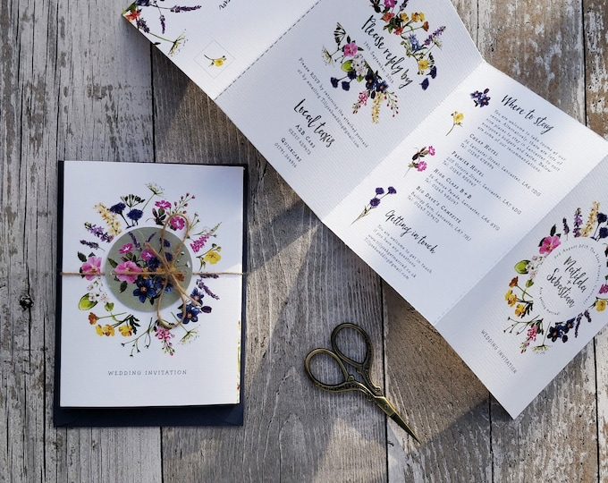 Folded Wedding Invitation | Wild Flowers Concertina |  Wedding map  | Cut-off RSVP cards & envelopes.