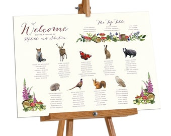 Table Plan, Wedding Tables, Watercolour animals, Woodland wedding, Woodland Animals, Woodland Watercolour, Forest Table Plan Board Poster