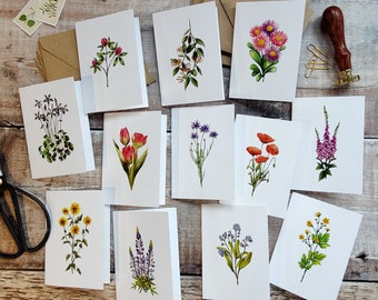 Mini Wildflower Folded Cards, Handmade Blank Cards & Envelopes, A7 74mm x 105mm, 12 Flowers, Cottagecore, Ditsy Floral cards