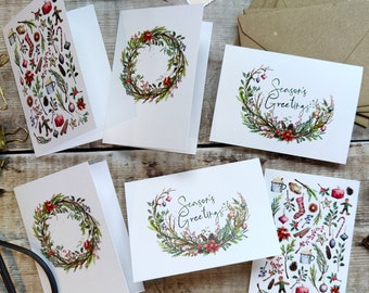 Mini Christmas Folded Cards, Handmade Blank Cards & Envelopes, A7 74mm x 105mm, 6 or 12 cards, Rustic Watercolours, Ditsy Floral cards