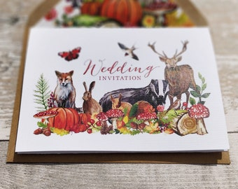 Folded Wedding Invitation, Autumn / Fall Woodland with cut-off RSVP cards and envelopes