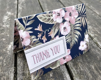 Mini Thank You Cards | Handmade Blank Cards & Envelopes | Pink Flowers Hand Painted Design