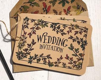 Woodland Wedding Invitation, Forest Wedding, Woodland Wedding Invitation Set, Outdoor Wedding cards, Hand drawn, Autumn Garden, Fall invites